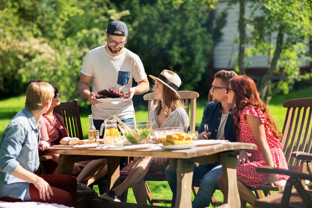 BBQ in garden with friends